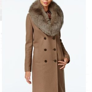 NEW Fox fur double breasted wool trench coat sz L